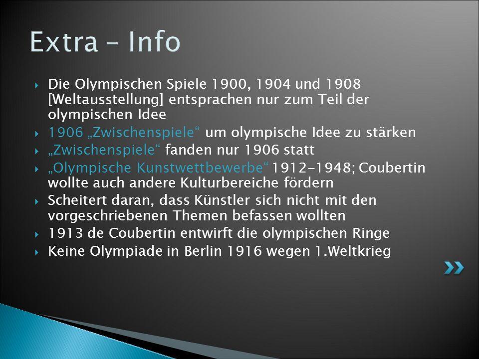 Extra – Info Die Olympischen Spiele 1900, 1904 und 1908 [Weltausstellung] entsprachen nur zum Teil der olympischen Idee.